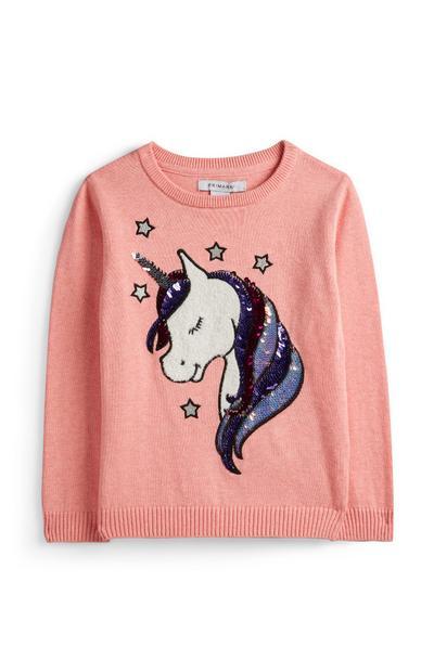 Rosa T-Shirt mit Einhorn (kleine Mädchen)