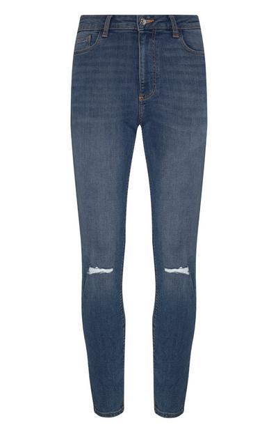 Dunkelblaue Skinny-Jeans im Used-Look