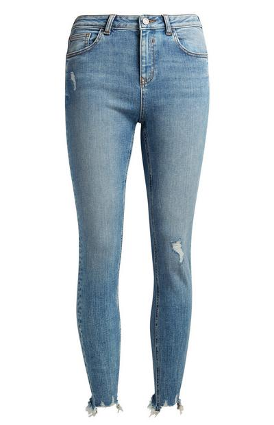 Mid Blue Distressed Ankle Grazer Jeans