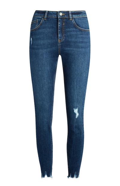 Dark Blue Distressed Ankle Grazer Jeans