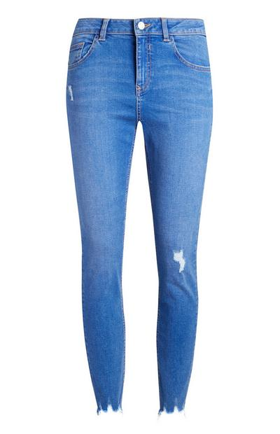 Bright Blue Distressed Ankle Grazer Jeans