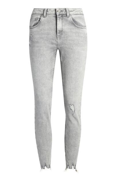 Grey Distressed Ankle Grazer Jeans