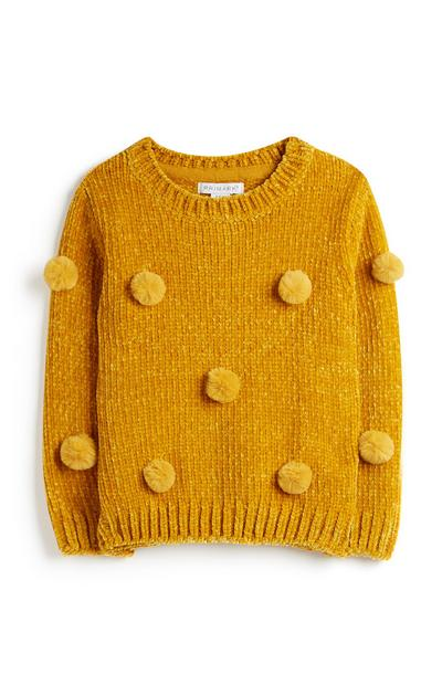 Younger Girl Yellow Pom Pom Jumper