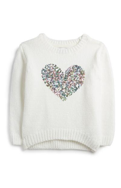 Jersey con corazón de lentejuelas para niña pequeña