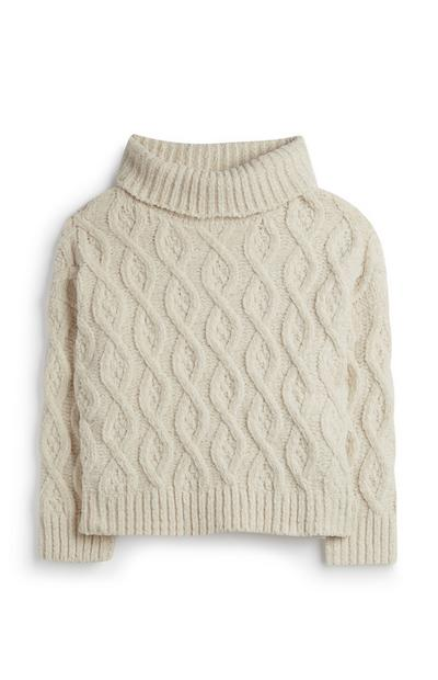 Younger Girl Cableknit Polo Jumper