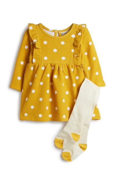 Gele outfit met stippen, 2-delig