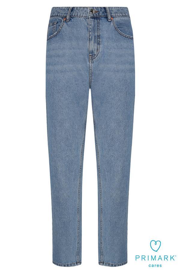 Lichtblauwe ruimvallende jeans van duurzaam katoen