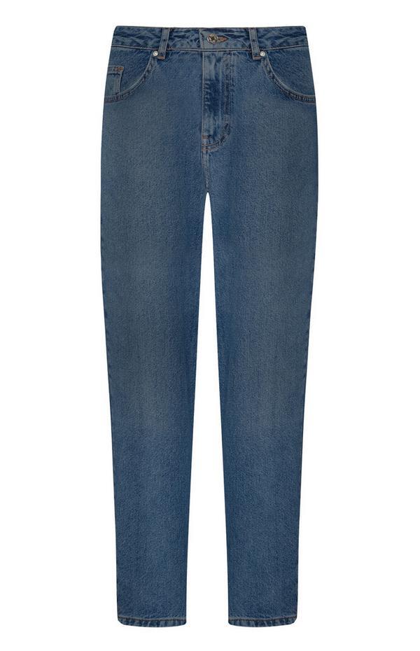 Blauwe ruimvallende spijkerbroek
