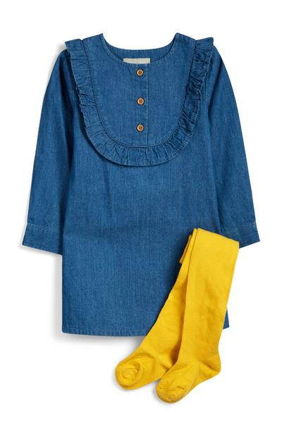 Abito in denim e collant da bimba
