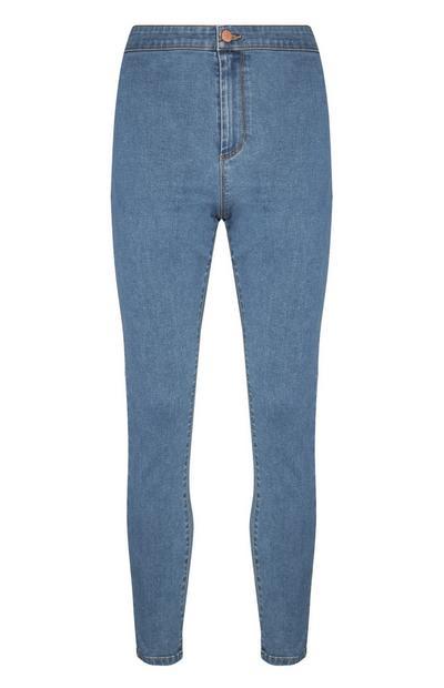 Calças ganga skinny cintura subida azul-médio