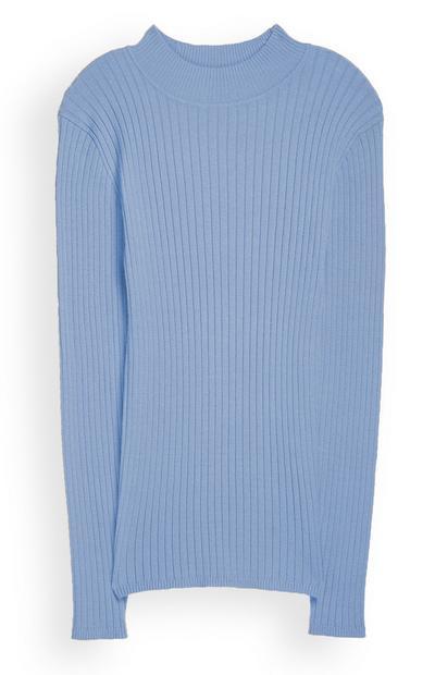 Blauwe trui met turtlehals