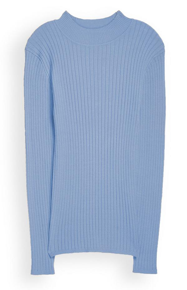 Camisola gola subida azul
