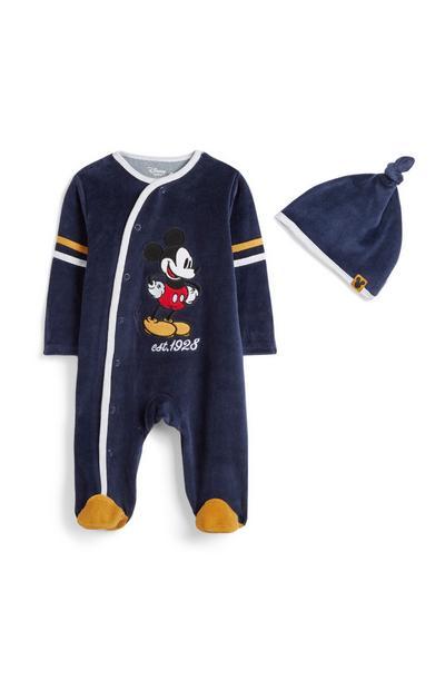 Komplet pajaca in kape za novorojenčka Miki Miška