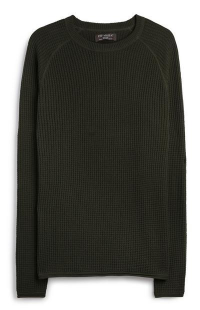 Kaki pleten pulover
