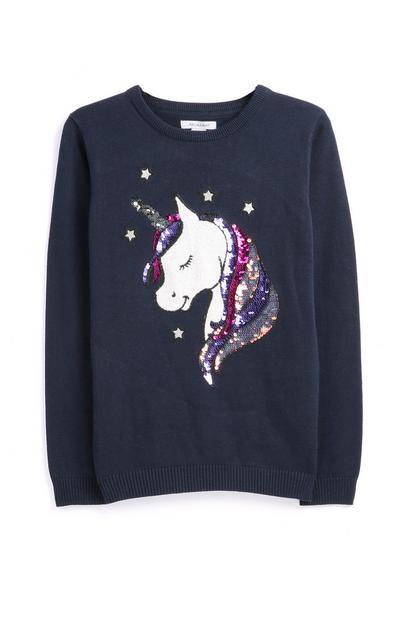 Jersey con unicornio y lentejuelas para niña mayor