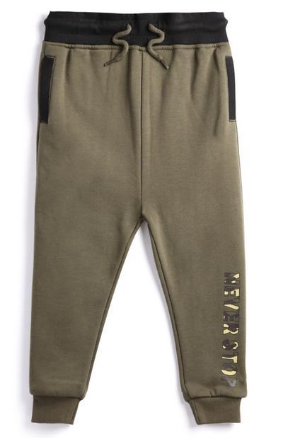 Pantalón de chándal color caqui para niño pequeño