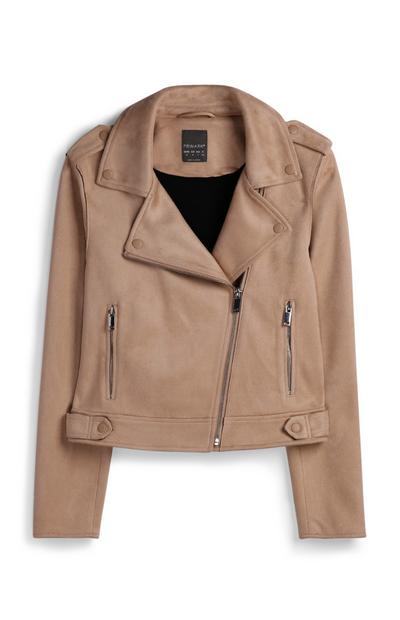 Cream Suedette Biker Jacket
