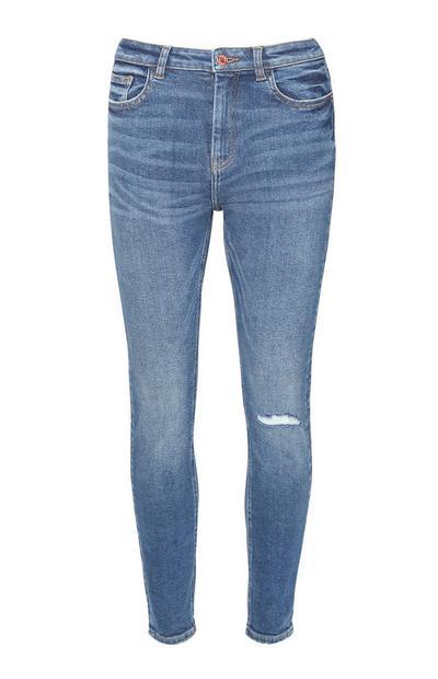 Indigoblaue Skinny Jeans im Used-Look