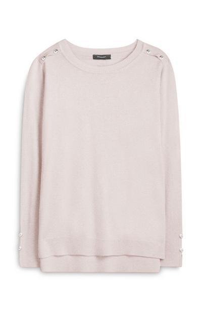 Pale Pink Supersoft Button-Shoulder Crew Neck Sweater