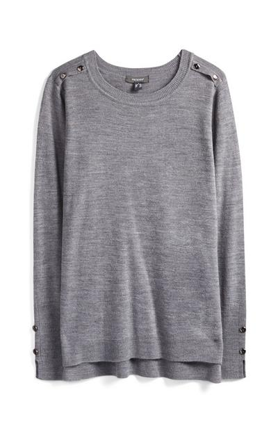 Grey Supersoft Buttoned Crew Neck Jumper