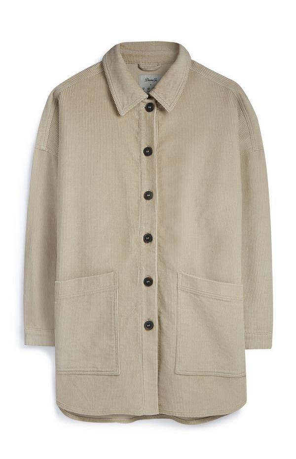 Beige corduroy jas