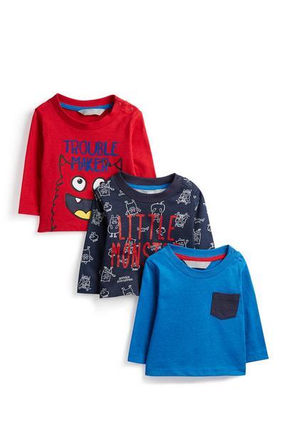 Baby-T-shirt met monsterprint, 3 stuks