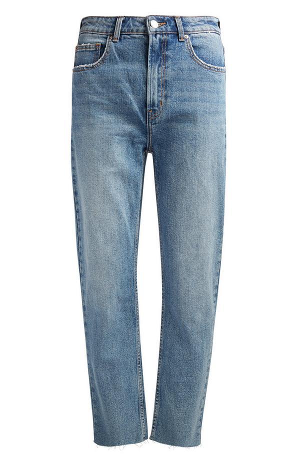 Svetlo modre hlače z ravnimi hlačnicami