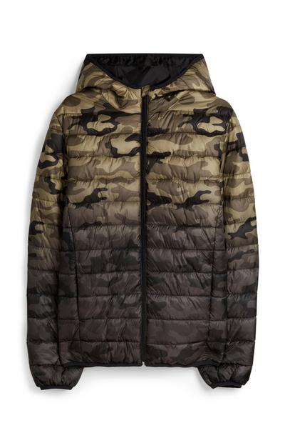 Camo Print Hooded Padded Jacket