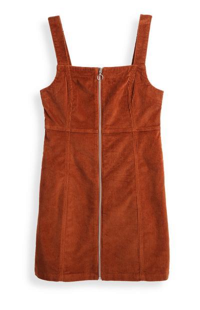 Cognackleurige corduroy jurk