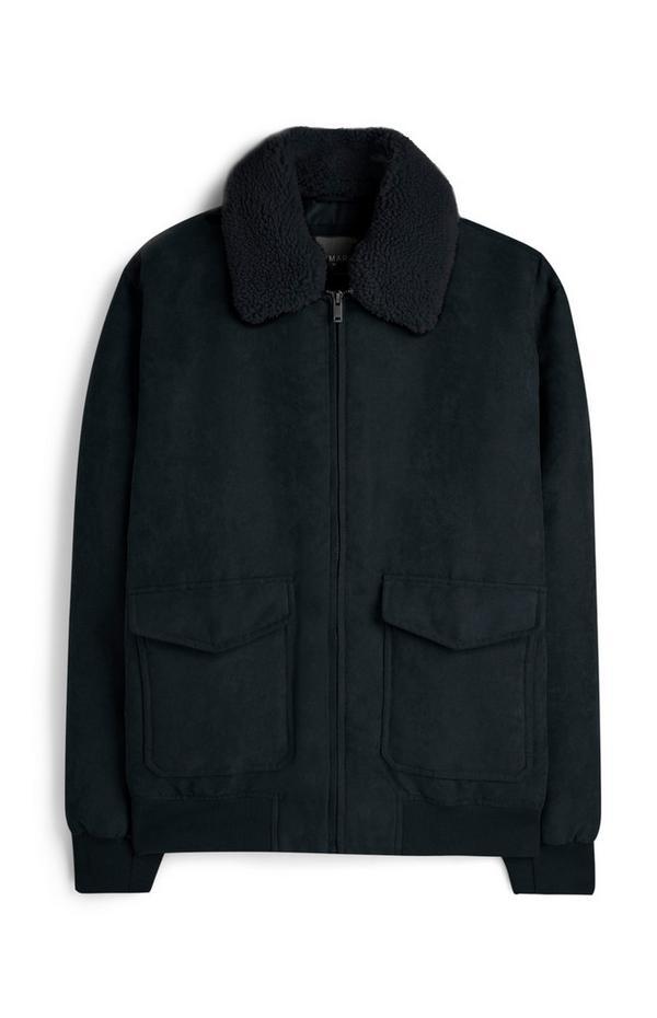 Faux Suede Borg Collar Jacket