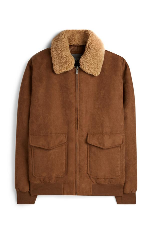 Brown Faux Suede Borg Jacket