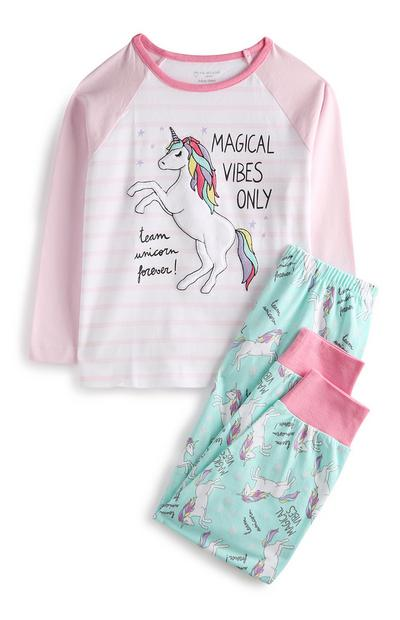 Pijama unicórnio cor-de-rosa