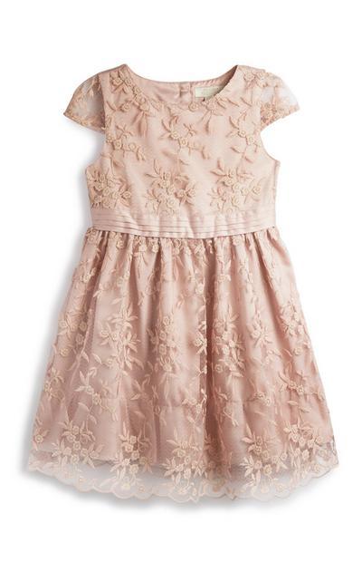 Vestido renda menina cor-de-rosa