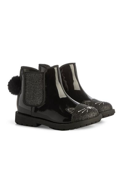 Black Glittery Patent Pom Pom Cat Boots