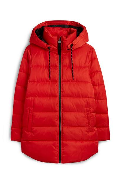 Manteau matelassé rouge mi-long
