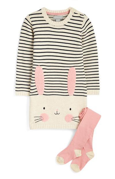 Abitino e calze con coniglietto da bimba