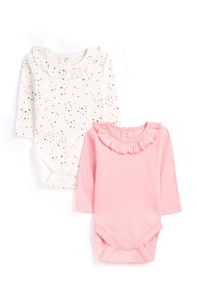 Newborn Girl Pink Frill Bodysuit 2Pk