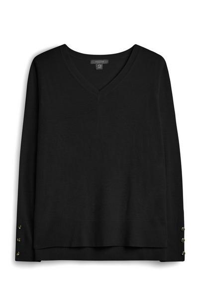 Camisola decote V preto