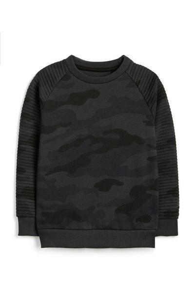 Grauer Pullover mit Tarnmuster (kleine Jungen)