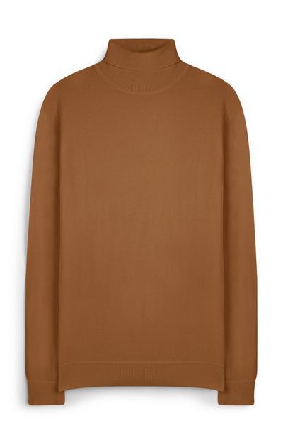 Pulover s polo ovratnikom kamelje barve