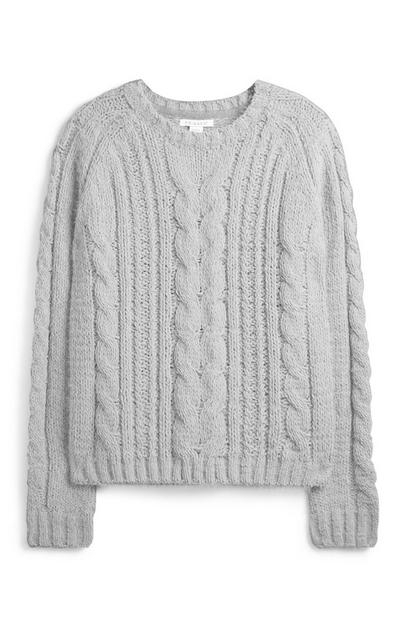Younger Girl Grey Cable Knit Jumper