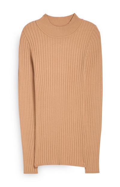 Camel Mock Neck Sweater