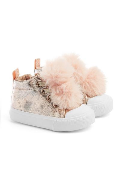 Sapatos pompom menina bebé dourado