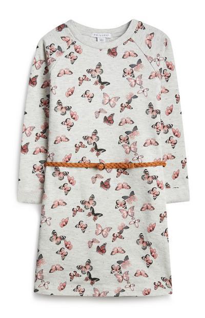 Obleka z metulji za mlajša dekleta