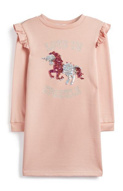 Rožnata obleka s samorogom za starejša dekleta