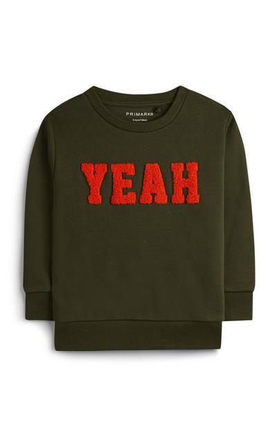 Grüner Pullover mit Slogan (kleine Jungen)