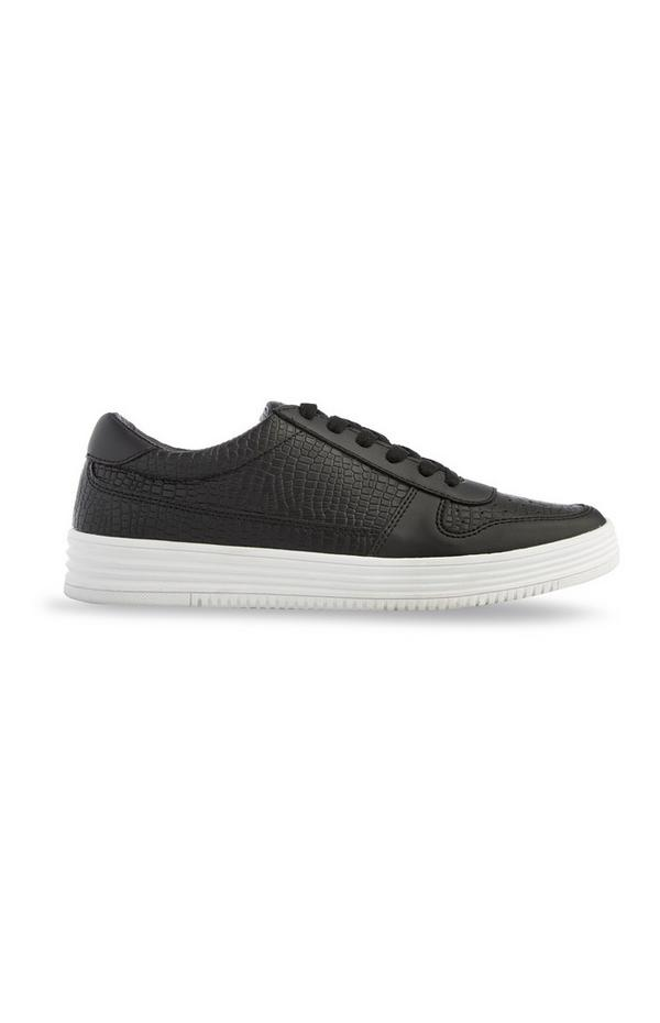 Black Chunky Low Top Faux Leather Trainers