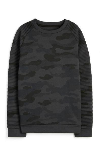 Sweat-shirt gris camouflage ado