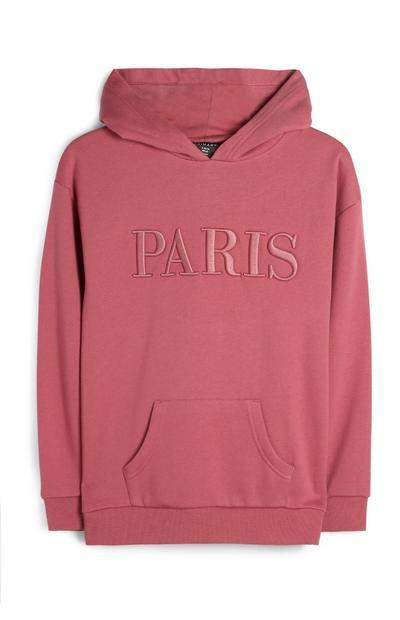 Older Girl Pink Paris Hoodie
