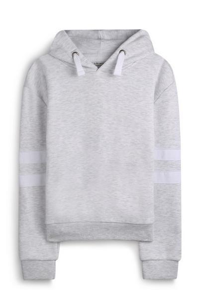 Sudadera gris con capucha y raya para niña mayor